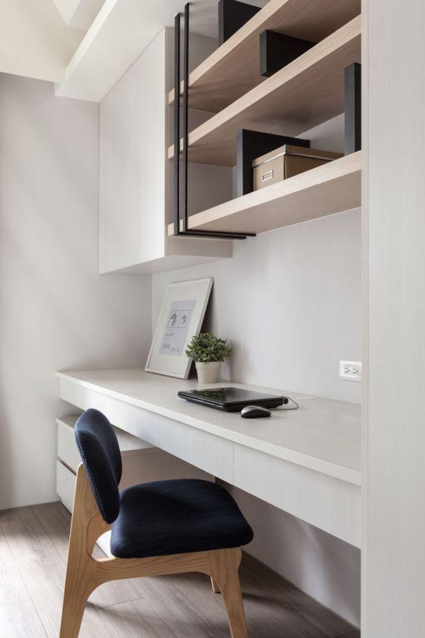Ilus minimalistlik ja helge kontori nurk, kus laua sees on ka sahtlid. Kombineerige erinevaid materjale - nagu näete puit ja valge on alati ilus kombinatsioon.